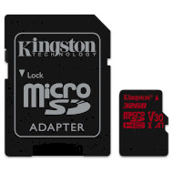 Карта памяти KINGSTON microSDHC Canvas React 32GB UHS-I U3 V30 A1 Class 10 + SD-adapter (SDCR/32GB)
