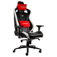 Кресло геймерское NOBLECHAIRS Epic Real Leather Black/White/Red (GAGC-034)