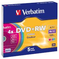 DVD+RW VERBATIM Colour 4.7GB 4x 120min 5pcs/slim (43297)
