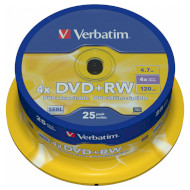 DVD+RW VERBATIM SERL 4.7GB 4x 25pcs/spindle (43489)