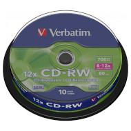 CD-RW VERBATIM 12x 700MB 8-12x 80min 10pcs/spindle (43480)