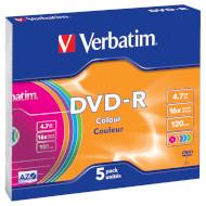 DVD-R VERBATIM Colour 4.7GB 16x 120min 5pcs/slim (43557)