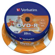 DVD-R VERBATIM Wide Inkjet Printable 4.7GB 16x 120min 25pcs/spindle (43538)