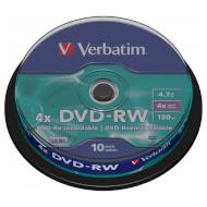 DVD-RW VERBATIM Matt Silver 4.7GB 4x 120min 10pcs/spindle (43552)
