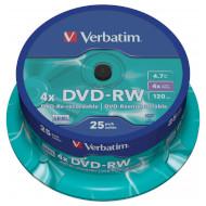 DVD-RW VERBATIM Matt Silver 4.7GB 4x 120min 25pcs/spindle (43639)