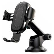 Автодержатель для смартфона с беспроводной зарядкой BASEUS Wireless Charger Gravity Car Mount Black (WXYL-A01)