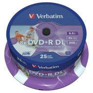 DVD+R DL VERBATIM Wide Inkjet Printable 8.5GB 8x 240min 25pcs/spindle (43667)