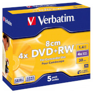 DVD+RW VERBATIM Matt Silver 1.4GB 4x 30min 5pcs/jewel (43565)