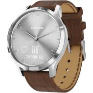 Смарт-часы GARMIN Vivomove HR Premium Silver Stainless Steel Case with Dark Brown Embossed Italian Leather Band