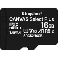Карта памяти KINGSTON microSDHC Canvas Select Plus 16GB UHS-I V10 A1 Class 10 (SDCS2/16GBSP)