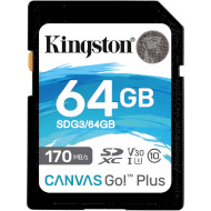 Карта памяти KINGSTON SDXC Canvas Go! Plus 64GB UHS-I U3 V30 Class 10 (SDG3/64GB)