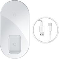 Беспроводное зарядное устройство BASEUS Simple 2-in-1 Wireless Charger Pro Edition 15W White (WXJK-C02)