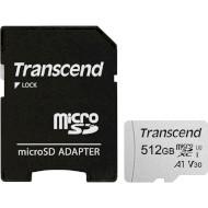 Карта памяти TRANSCEND microSDXC 300S 512GB UHS-I U3 V30 A1 Class 10 + SD-adapter (TS512GUSD300S-A)