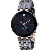 Часы ANNE KLEIN Women's Diamond-Accented Ceramic Bracelet Black/Rose Gold (AK/3310BKRG)