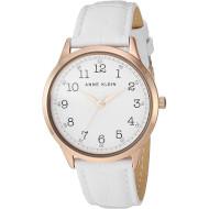 Часы ANNE KLEIN Women's Easy to Read Leather Strap White/Rose Gold (AK/3560RGWT)