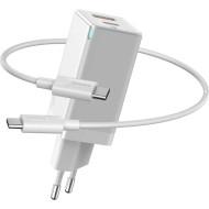Зарядное устройство BASEUS GaN2 Q.Charger C+U 45W with Mini Cable Type-C toType-C 60W White