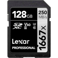 Карта памяти LEXAR SDXC Professional 1667x 128GB UHS-II U3 V60 Class 10 (LSD128CB1667)