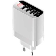 Зарядное устройство BASEUS Mirror Lake Digital Display 4USB 30W EU White