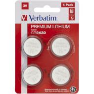 Батарейка VERBATIM Premium Lithium CR2430 4шт/уп (49534)