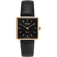 Часы ATLANTIC Elegance Square Rose Gold PVD Black (29041.44.61L)