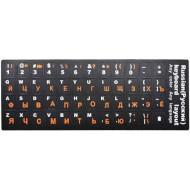 Наліпки на клавіатуру VOLTRONIC чорні з білими та помаранчевими літерами EN/RU