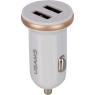 Автомобільний зарядний пристрій USAMS US-CC050 C4 Dual USB Mini Car Charger White (CC50GC02)