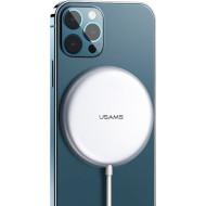 Бездротовий зарядний пристрій USAMS US-CD160 W2 Alloy Super-thin Magnetic Fast Wireless Charger Silver (CD160DZ01)