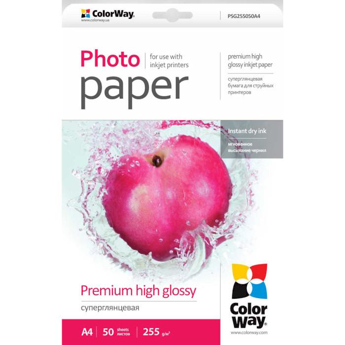 Фотопапір COLORWAY Premium High Glossy A4 255г/м² 50л (PSG255050A4)