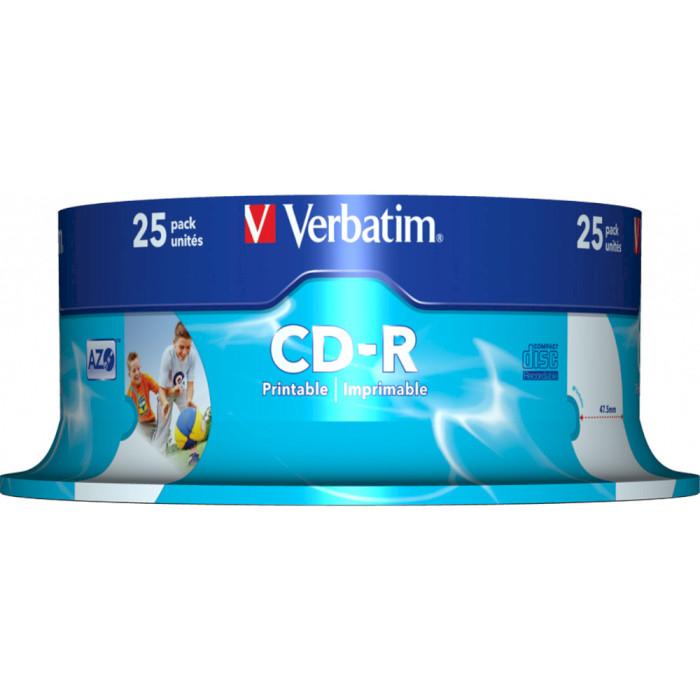 CD-R VERBATIM AZO Printable 700MB 52x 25pcs/spindle (43439)