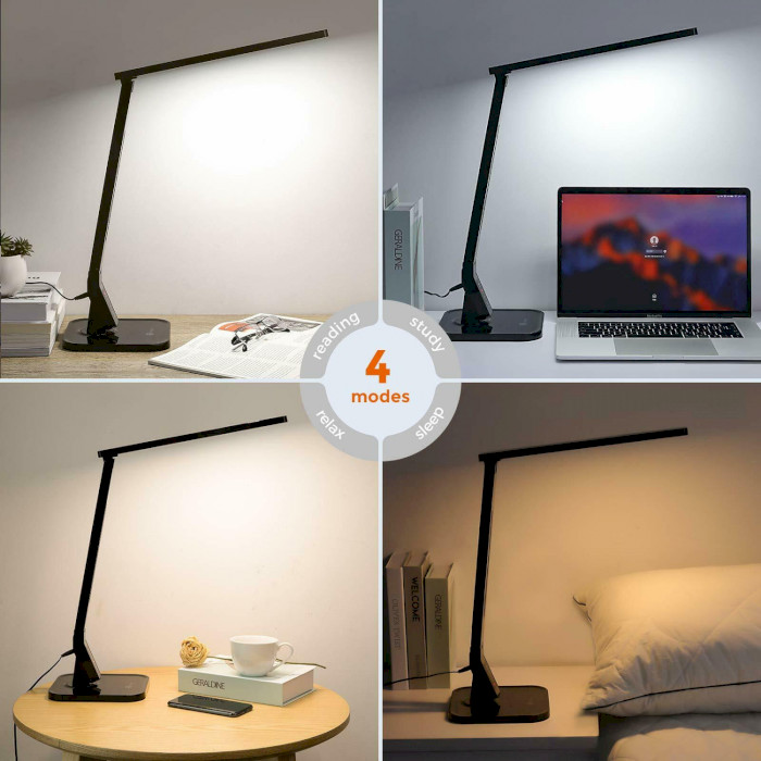 Лампа настольная TAOTRONICS LED Desk Lamp with USB Charging Port 4 Lighting Modes with 5 Brightness Levels Black (TT-DL01)