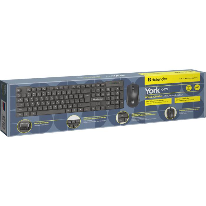 Комплект клавіатура + миша DEFENDER York C-777 (45777)