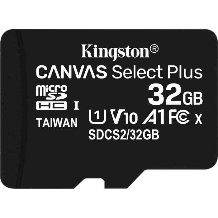 Карта пам'яті KINGSTON microSDHC Canvas Select Plus 32GB UHS-I V10 A1 Class 10 (SDCS2/32GBSP)
