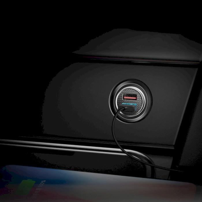 Автомобильное зарядное устройство BASEUS Car Charger Circle Dual QC3.0 Black (CCALL-YD01)