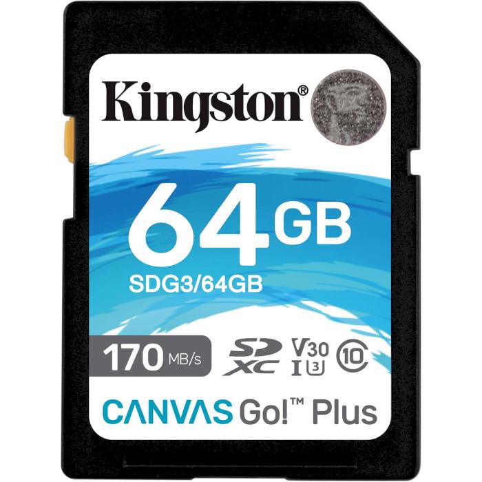 Карта пам'яті KINGSTON SDXC Canvas Go! Plus 64GB UHS-I U3 V30 Class 10 (SDG3/64GB)