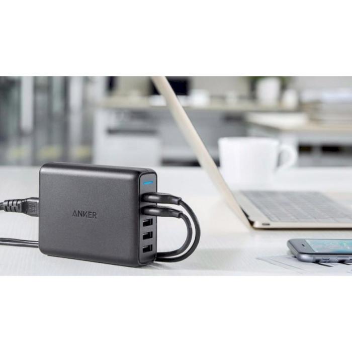 Зарядное устройство ANKER PowerPort+ 5 QC 3.0 + PowerIQ Black (A2054L11~EOL)