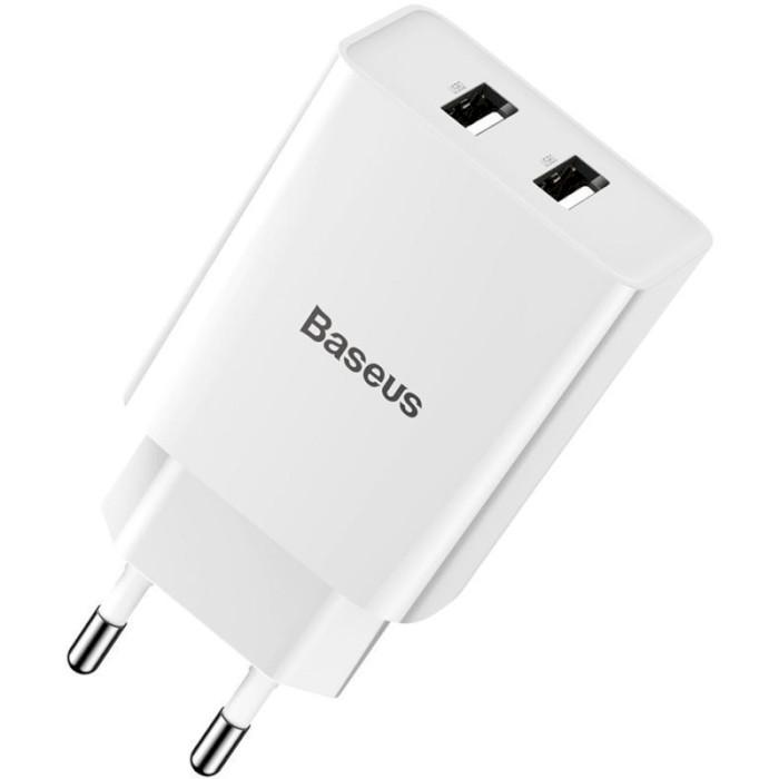 Зарядное устройство BASEUS TC-012 Speed Mini Dual U Charger White (CCFS-R02)