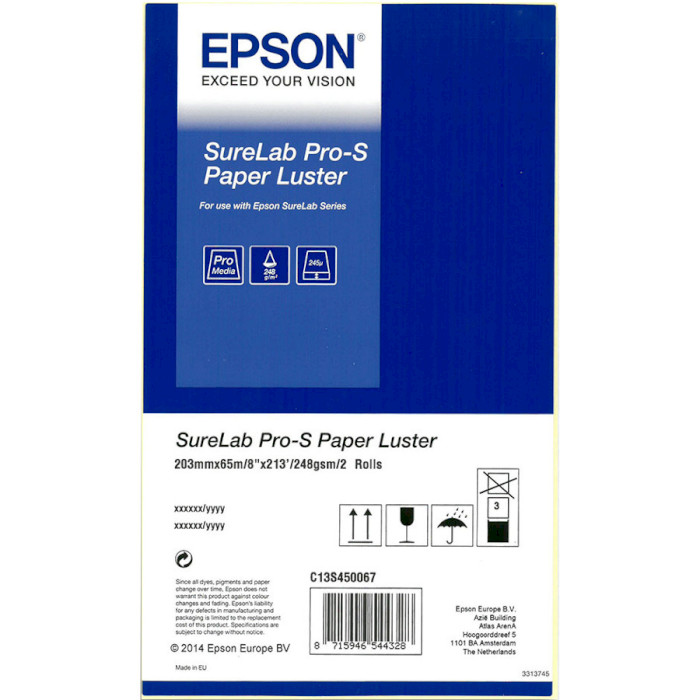"Фотопапір EPSON SureLab Pro-S Paper Luster 8""x65м 248г/м² 2рул. (C13S450067BP)"
