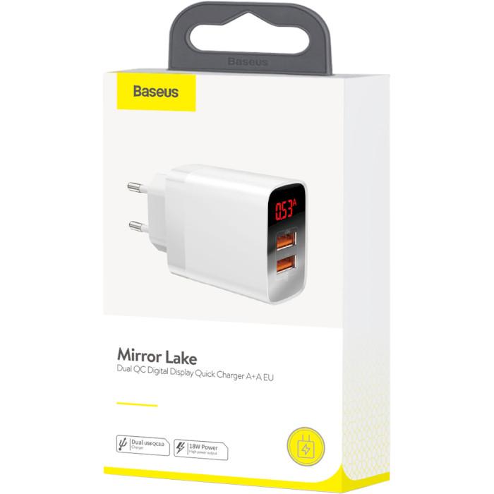 Зарядное устройство BASEUS Mirror Lake Dual QC Digital Display A+A EU White (CCJMHA-A02)