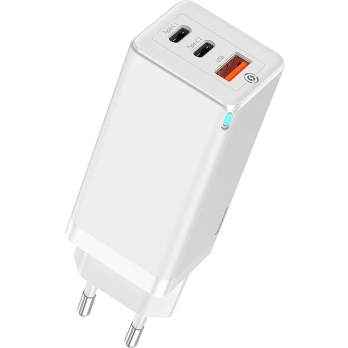 Зарядное устройство BASEUS GaN Quick Travel Charger 65W White (CCGAN-H02)