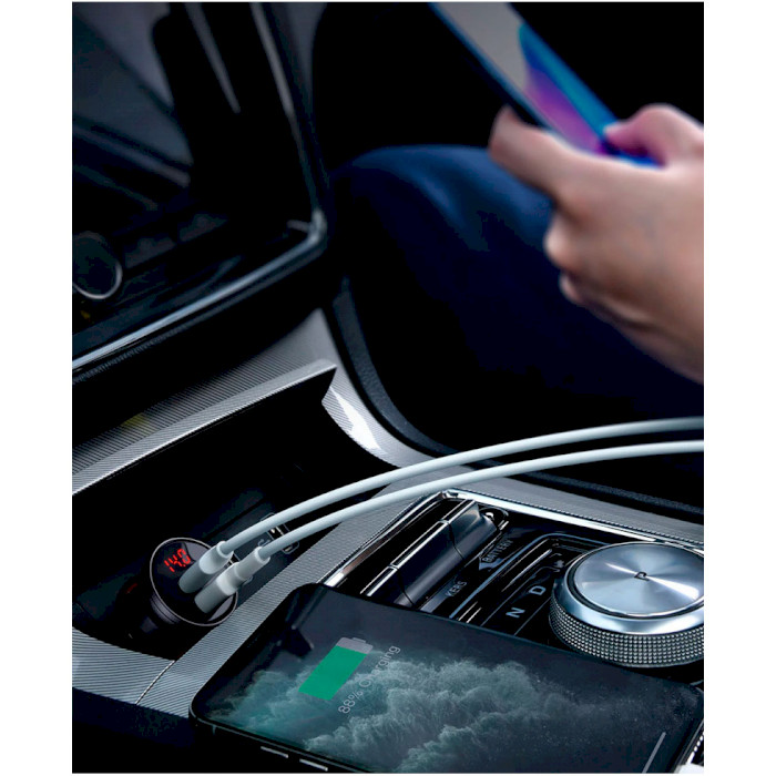 Автомобильное зарядное устройство BASEUS Digital Display Dual USB 24W Gray (CCBX-0G)