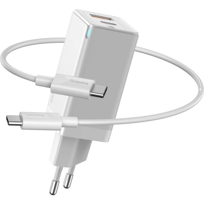 Зарядний пристрій BASEUS GaN Q.Charger C+U 45W with Mini Cable Type-C toType-C 60W White (CCGAN-Q02)