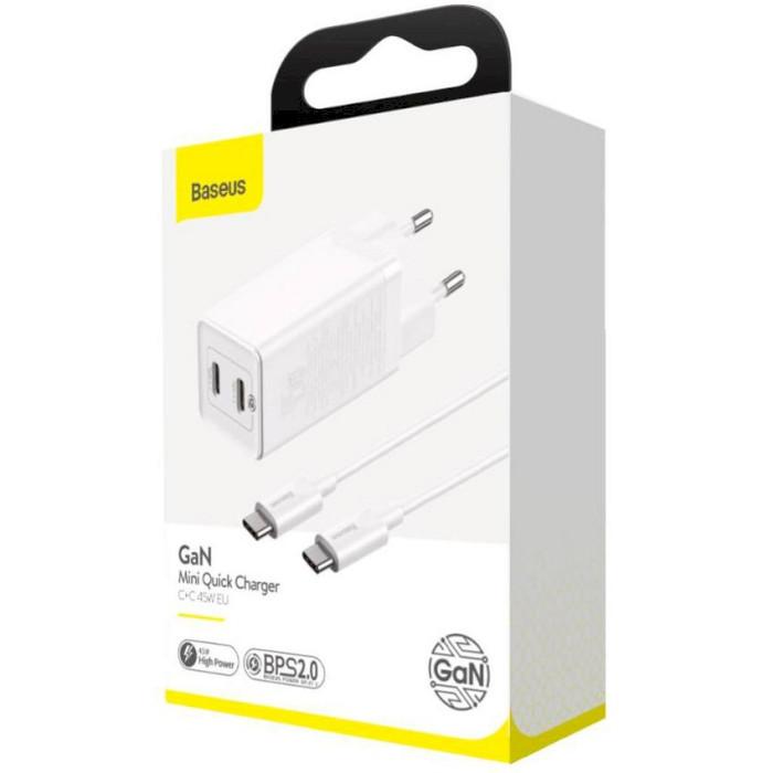 Зарядное устройство BASEUS GaN2 Q.Charger C+C 45W with Mini Cable Type-C toType-C 60W White (CCGAN-M02)
