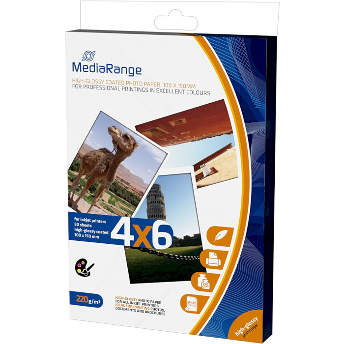 Фотопапір MEDIARANGE High Glossy 10x15см 220г/м² 50л (MRINK104)
