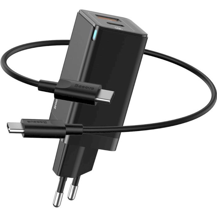 Зарядное устройство BASEUS GaN Q.Charger C+U 45W With Mini Cable Type-C toType-C 60W Black (CCGAN-Q01)
