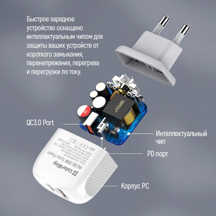 Зарядное устройство COLORWAY CW-CHS024QPD-WT