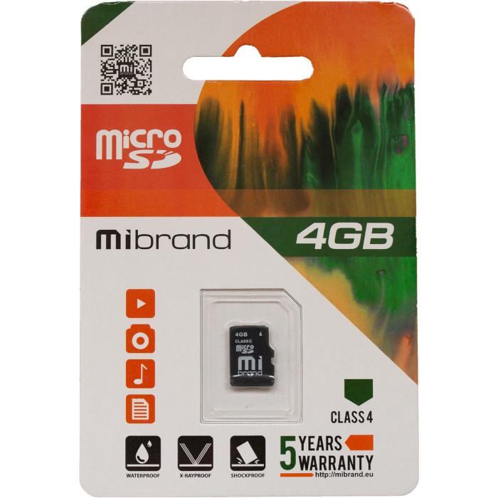 Карта памяти MIBRAND microSDHC 4GB Class 4 (MICDC4/4GB)
