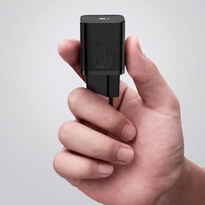 Зарядное устройство BASEUS Super Si Quick Charger Black w/Type-C - Lightning Cable (TZCCSUP-B01)