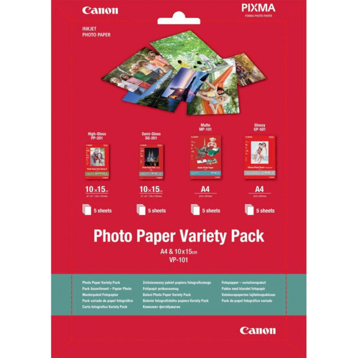 Фотопапір CANON Photo Paper Variety Pack A4 & 10x15 VP-101 20л (0775B079AA)