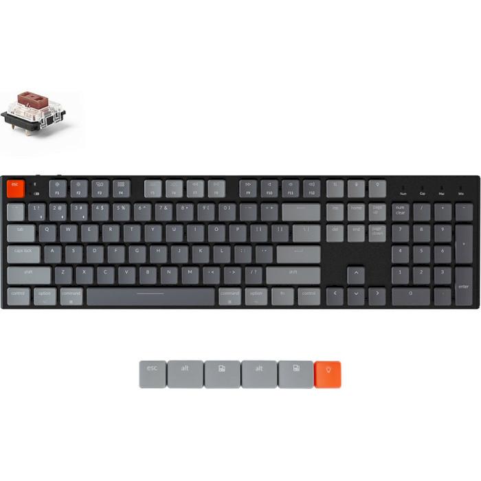 Клавіатура бездротова KEYCHRON K1 104-key RGB Gateron Brown Switches