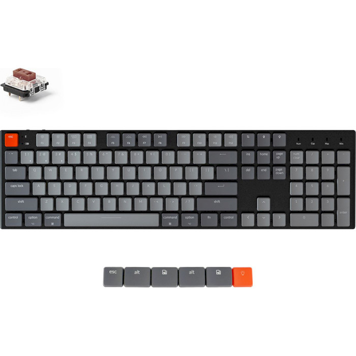 Клавіатура бездротова KEYCHRON K1 104-key White Backlight Gateron Brown Switches